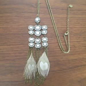 Long boho bronze chain necklace / tan feathers
